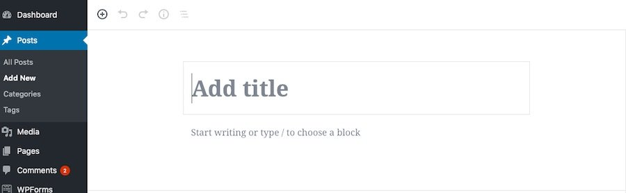 Start a post in WordPress with block editor