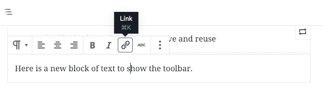 Toolbar on a paragraph block in WordPress Block Editor