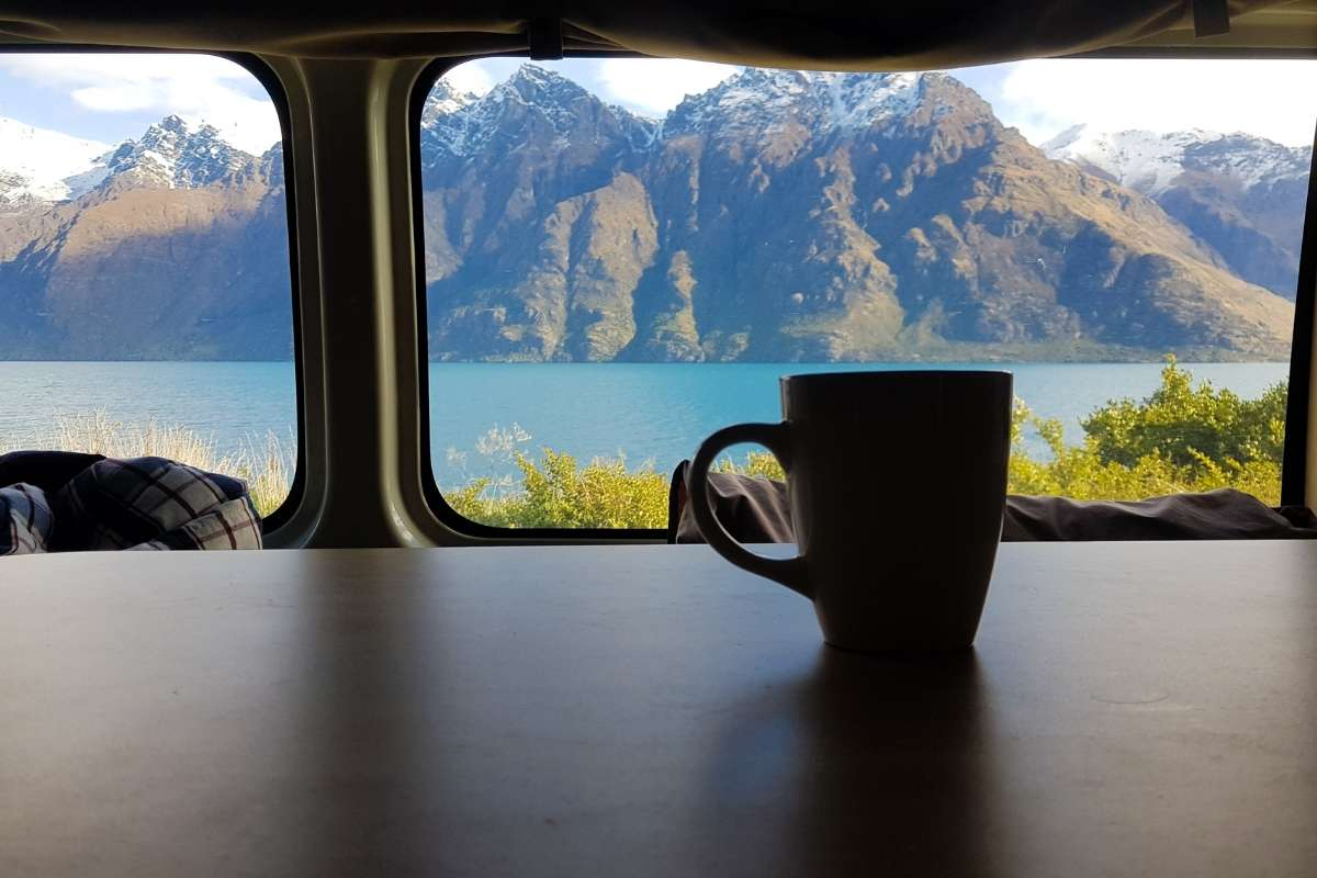 Ocean and mountain view from campervan